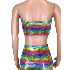 SALE - Tube Top Bandeau - Rainbow Velvet - Peridot Clothing