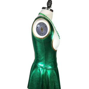 Sexy Metallic Green Bodycon Top and Skirt - Leprechaun Costume, full costume