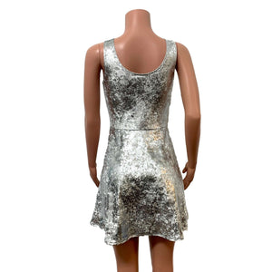 Silver Gilded Velvet A-line Mini Dress w/Pockets - Peridot Clothing