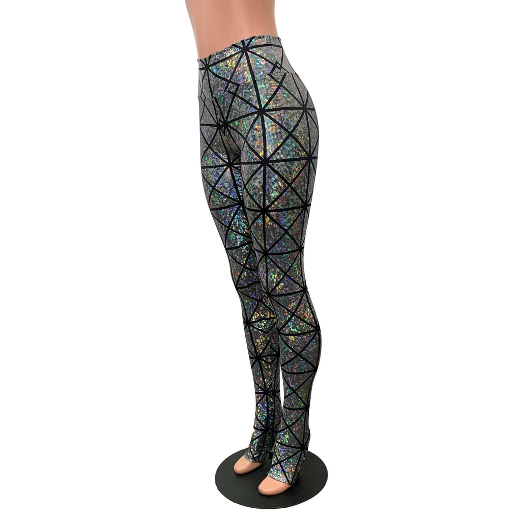 Silver Glass Pane Holographic Stirrup Leggings, women's pants