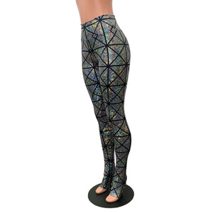 Silver Glass Pane Holographic Stirrup Leggings - Peridot Clothing
