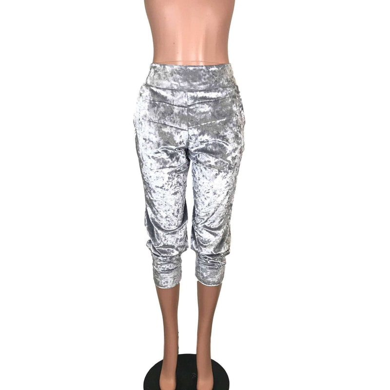 Silver Gray Crushed Velvet Joggers w/ Pockets - Peridot Clothing