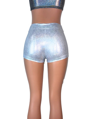 SALE - Silver Holographic Low-Rise Booty Shorts, SMALL - Peridot Clothing