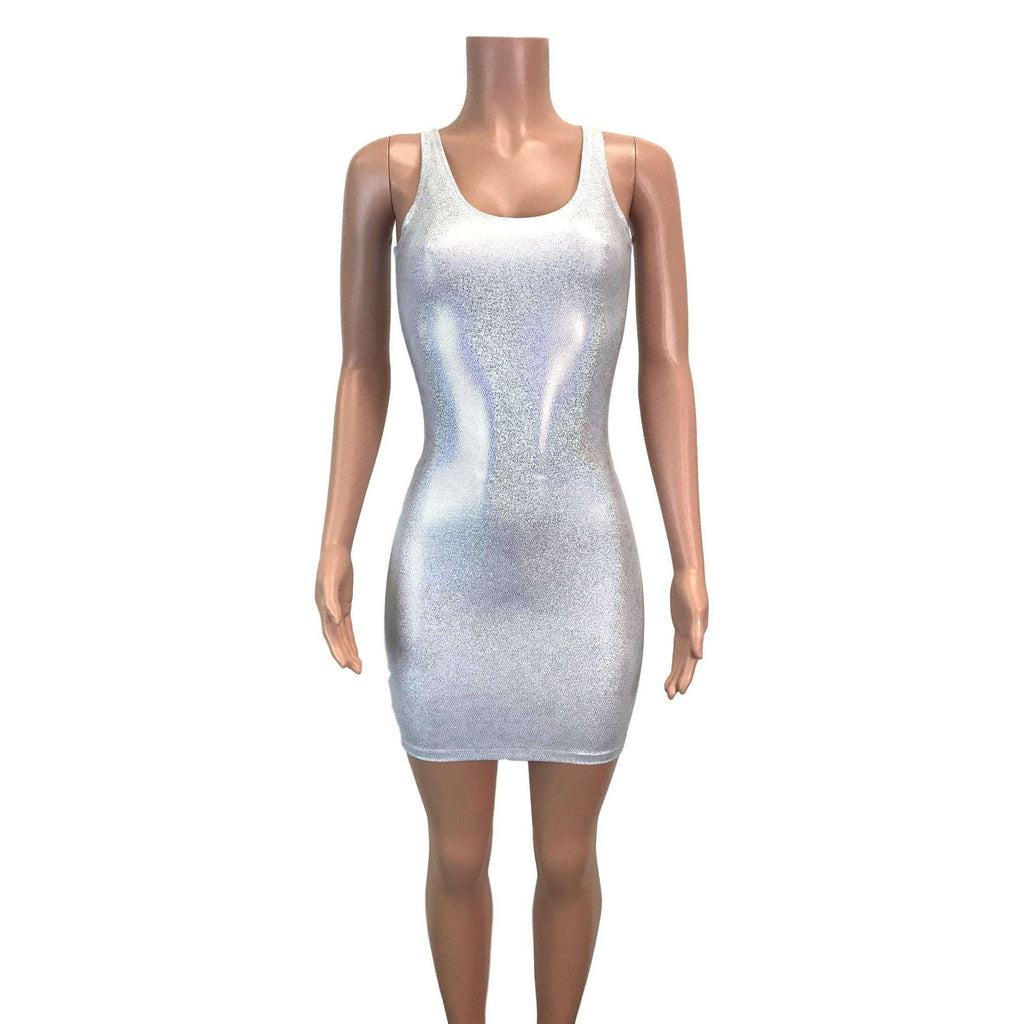 Silver Holographic Bodycon Dress - Peridot Clothing
