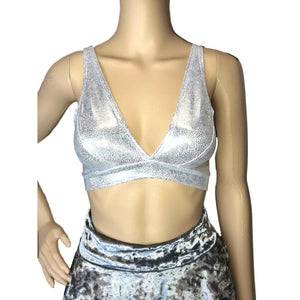 Silver Holographic Bralette - Peridot Clothing
