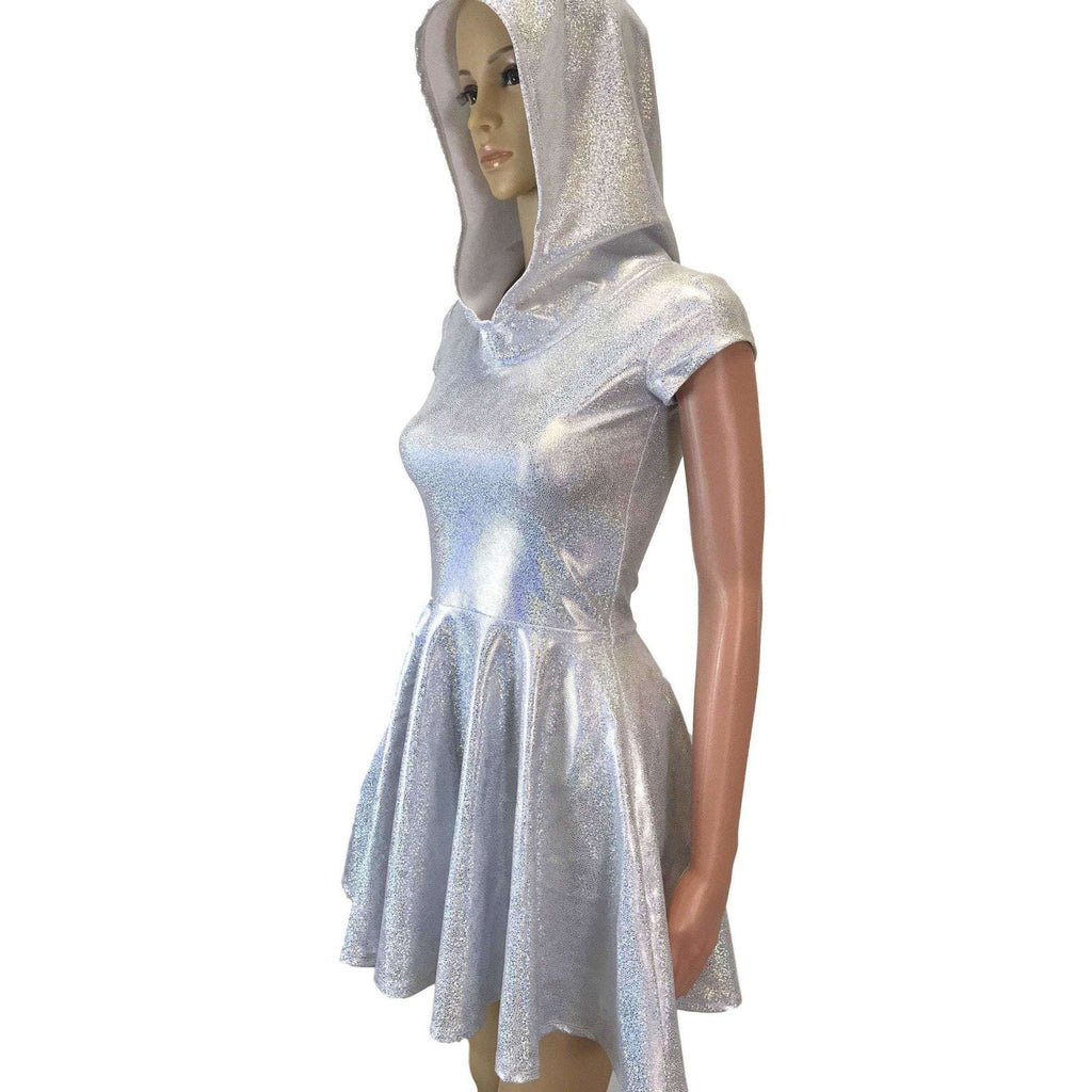 Hooded Skater Dress - Silver on White Holographic Fit n Flare Dress - Peridot Clothing