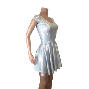 Silver Holographic Cap Sleeve Skater fit n flare Dress - Peridot Clothing