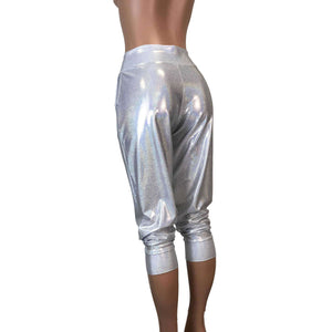 Silver Holographic Joggers w/ Pockets - Peridot Clothing