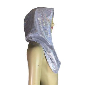 Silver Holographic Rave Hood - Peridot Clothing