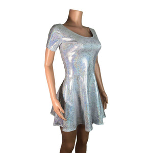 Silver Holographic Short Sleeve Skater fit n flare Dress - Peridot Clothing