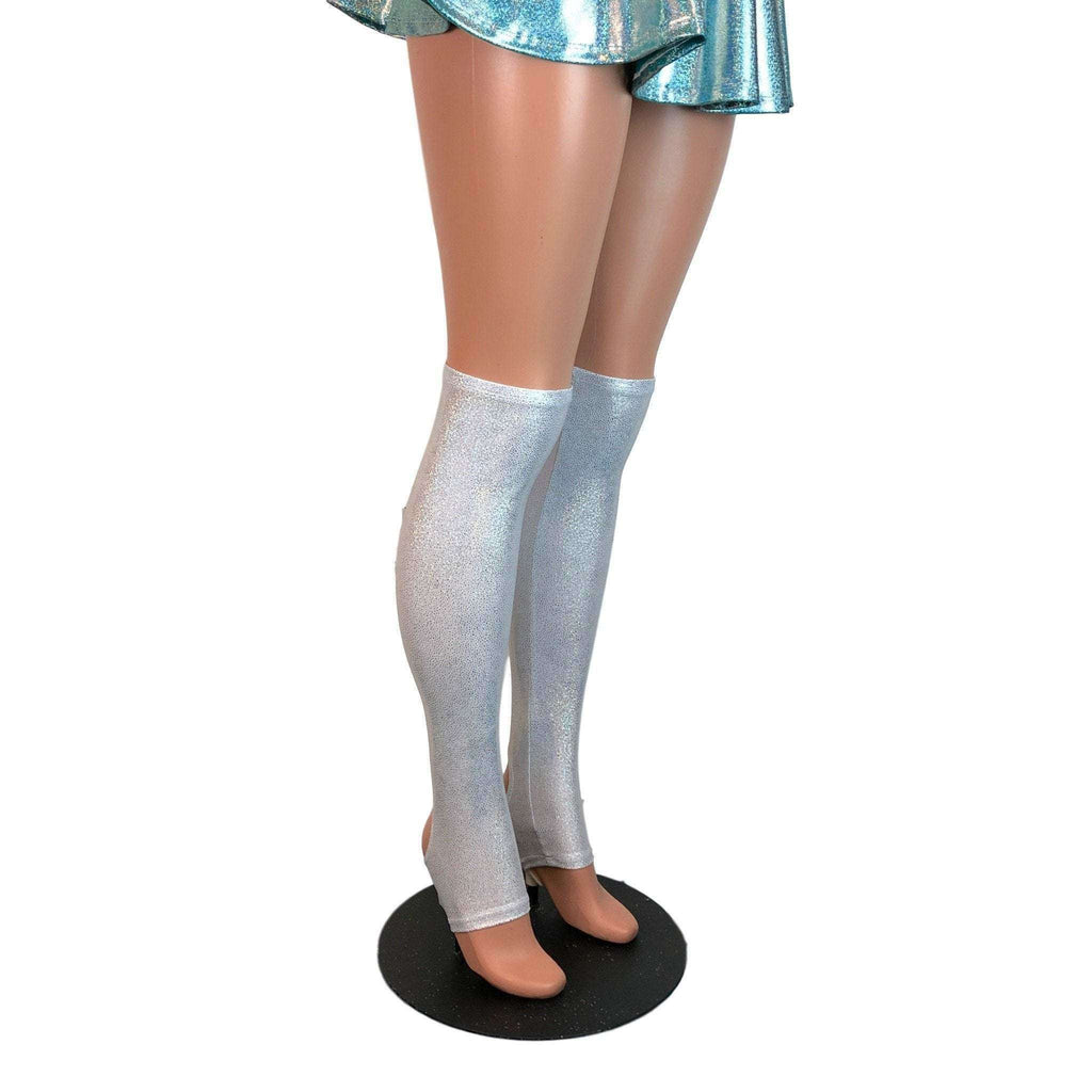 Silver Holographic Stirrup Leg Sleeves, Calf Sleeves - Peridot Clothing