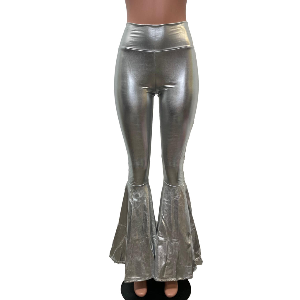 Silver Metallic High-Waisted Bell Bottoms - Peridot Clothing