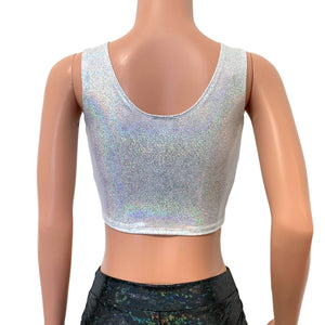 Silver on White Holographic Ring Crop Top - Peridot Clothing