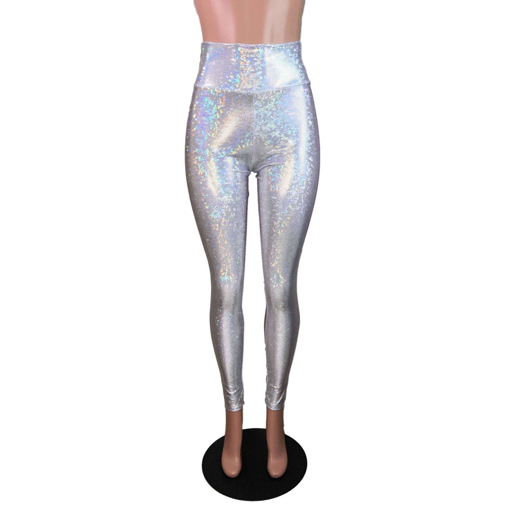 Silver Shattered Glass Holographic High Waisted Leggings Pants - Peridot Clothing