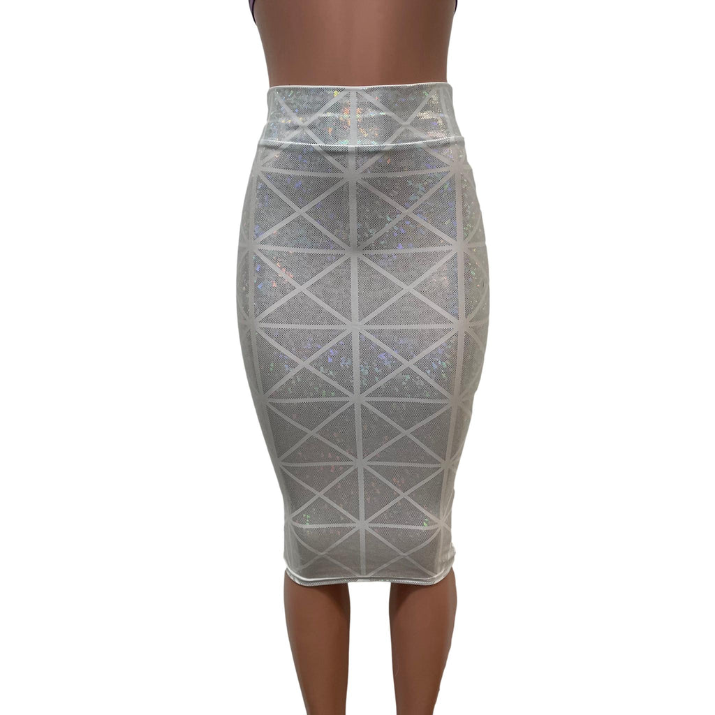 Silver on White Glass Pane Long Pencil Bodycon Skirt - Peridot Clothing