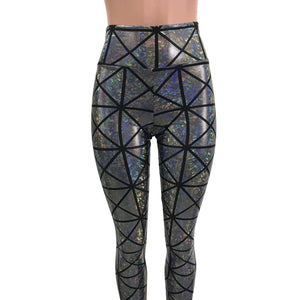 Silver Window Pane Shattered Glass Holographic Leggings Pants - Peridot Clothing