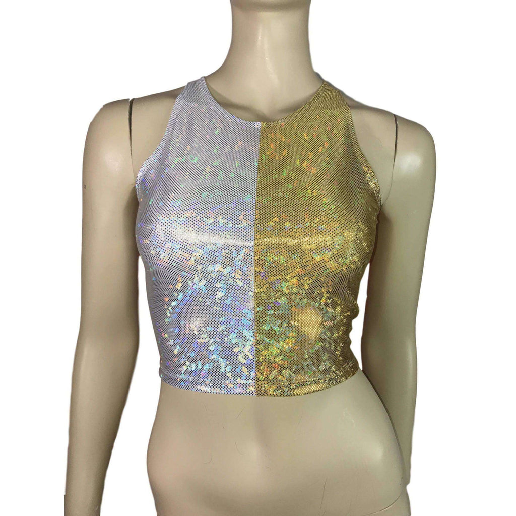 Silver/Gold Holographic Shattered Glass Crop Top - bodycon Clubwear, Rave Wear, Activewear, Running, Yoga, crossfit, women's tops