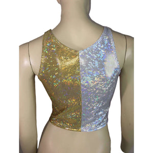 Silver/Gold Holographic Shattered Glass Crop Top - bodycon Clubwear, Rave Wear, Activewear, Running, Yoga, crossfit - Peridot Clothing