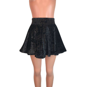 Skater Skirt - Black Crushed Velvet - Peridot Clothing