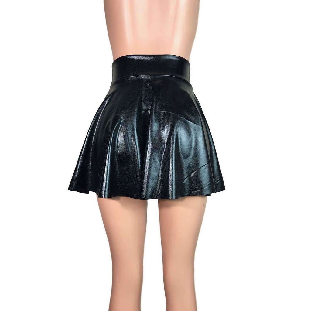 "Skater Skirt - Black Metallic ""Wet Look"" - Peridot Clothing"