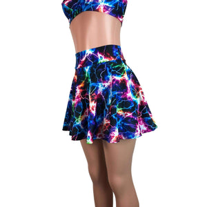 Skater Skirt - Cosmic Thunder UV Glow - Peridot Clothing