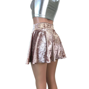 Skater Skirt - Dusty Pink Crushed Velvet - Peridot Clothing