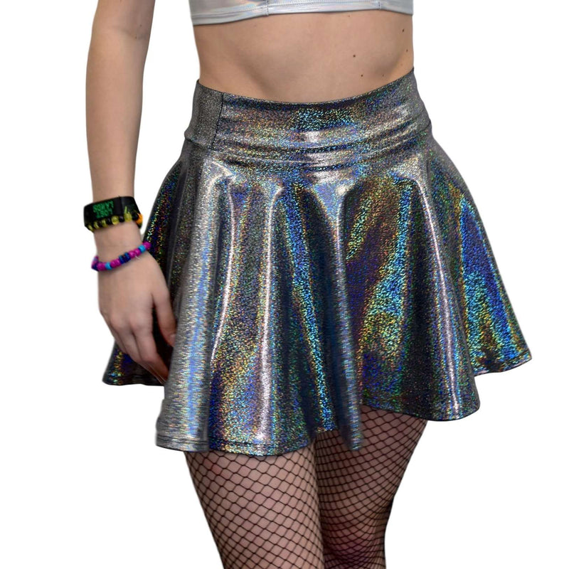 Skater Skirt - Gleaming Silver on Black Holographic - Peridot Clothing