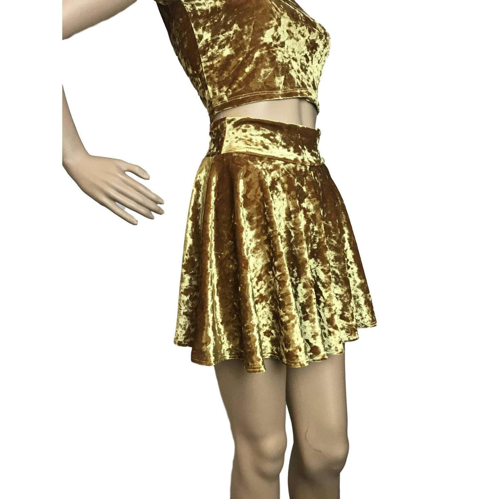 Skater Skirt - Gold Crushed Velvet - Peridot Clothing