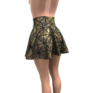 Skater Skirt - Gold Glass Pane Holographic - Peridot Clothing
