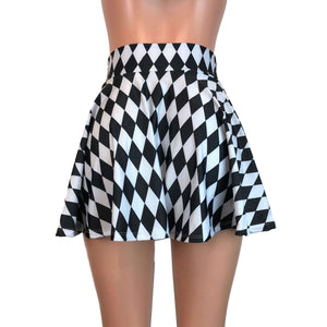 Skater Skirt - Harlequin Black & White Diamond - Peridot Clothing