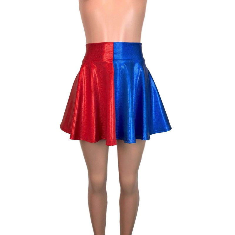 Skater Skirt - Harley Quinn Blue/Red Mystique - Peridot Clothing