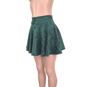 Skater Skirt - Hunter Green Crushed Velvet, skirts