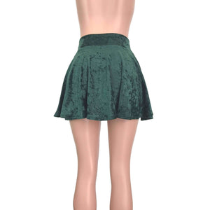 Skater Skirt - Hunter Green Crushed Velvet - Peridot Clothing