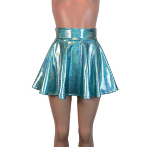 Skater Skirt - Jade Blue Holographic - Peridot Clothing