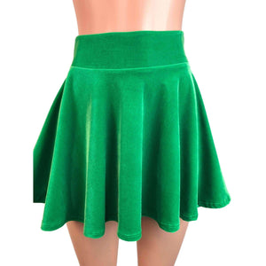 Skater Skirt - Kelly Green Velvet - Peridot Clothing