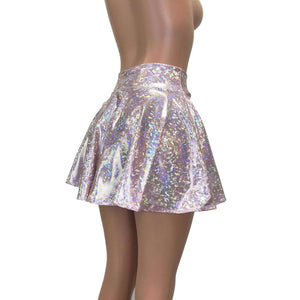 Skater Skirt - Light Pink Shattered Glass Holographic - Peridot Clothing