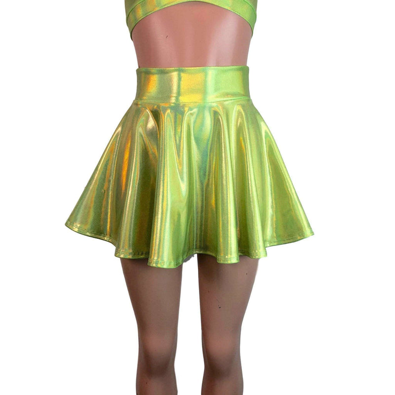 Skater Skirt - Lime Green Holographic - Peridot Clothing