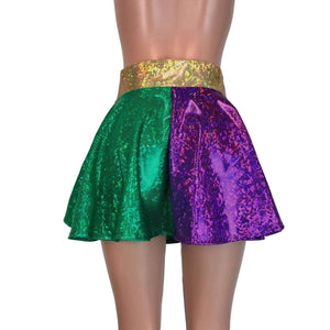 Skater Skirt - Mardi Gras Purple, Green, and Gold Holographic, skirts
