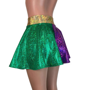 Skater Skirt - Mardi Gras Purple, Green, and Gold Holographic - Peridot Clothing