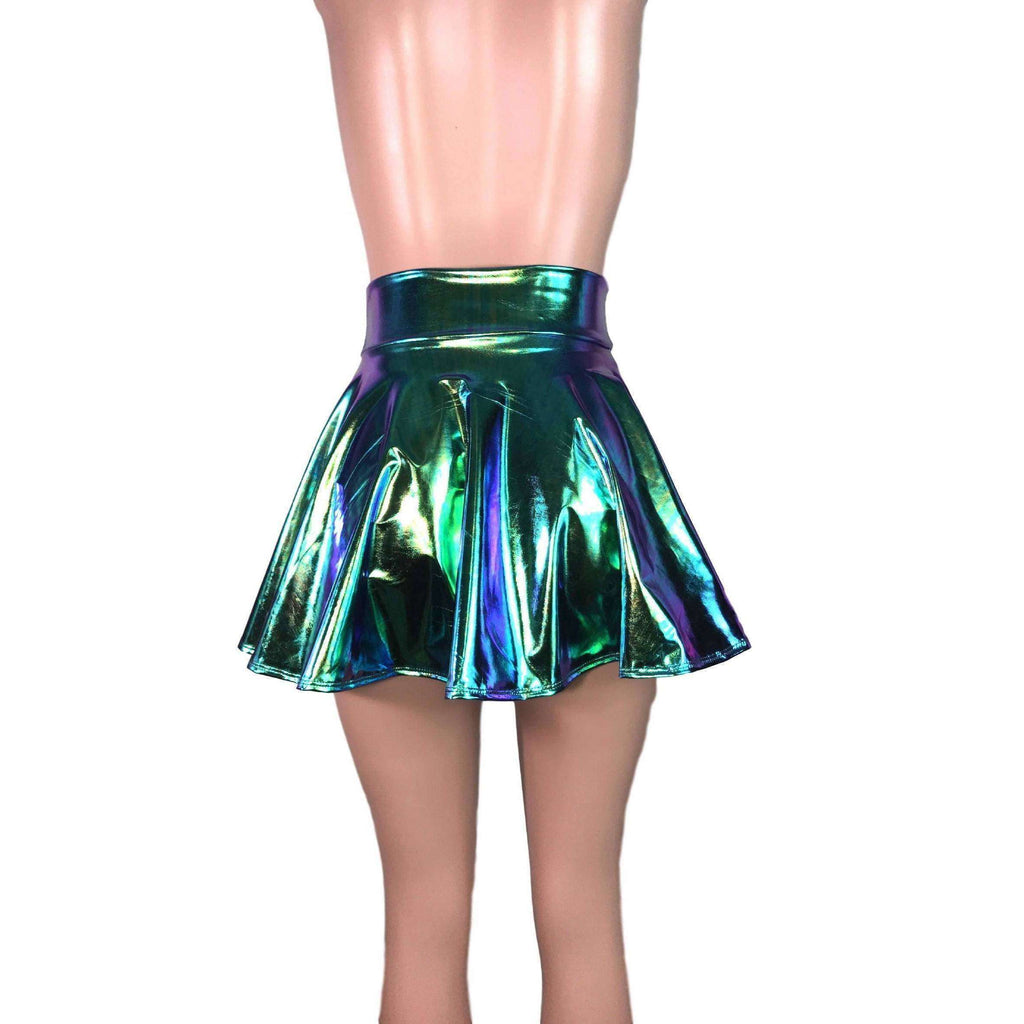 Skater Skirt - Oil Slick Holographic - Peridot Clothing