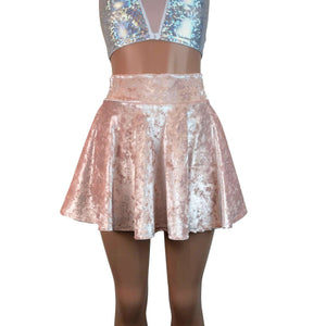 Skater Skirt - Petal Pink Crushed Velvet - Peridot Clothing
