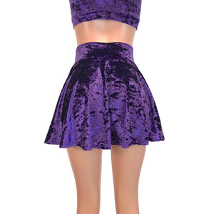 Skater Skirt - Purple Crushed Velvet - Peridot Clothing