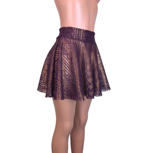 Skater Skirt - Purple Metallic Lace - Peridot Clothing