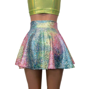 Skater Skirt - Rainbow Avatar Holographic - Peridot Clothing