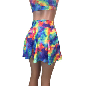 Skater Skirt - Rainbow Geo - Peridot Clothing