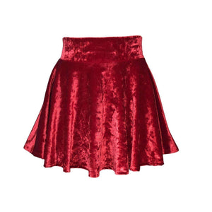 Skater Skirt - Red Crushed Velvet - Peridot Clothing