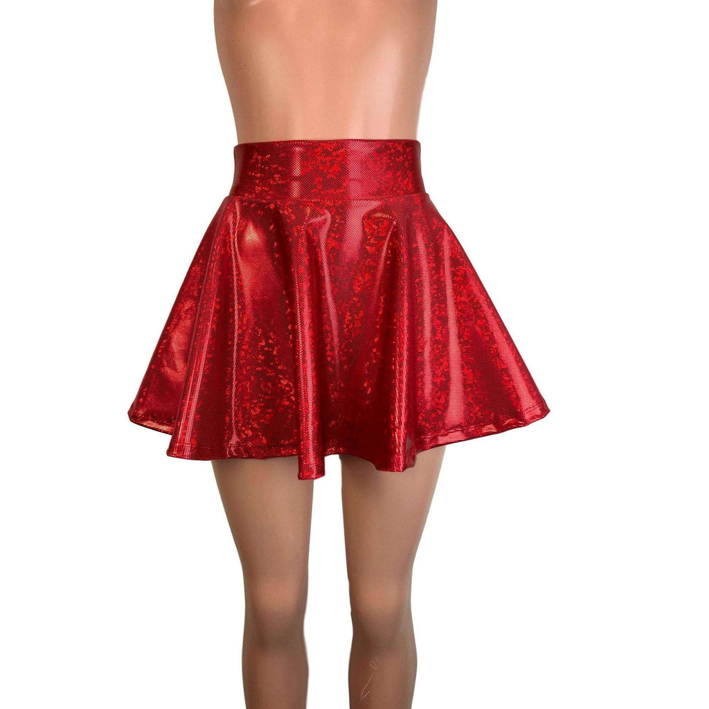 Skater Skirt - Red Shattered Glass Holographic - Peridot Clothing