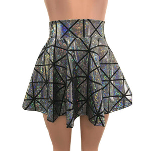 Skater Skirt - Silver Glass Pane Holographic - Peridot Clothing