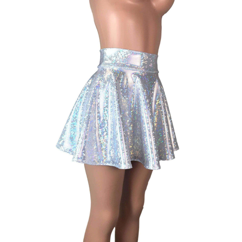 Skater Skirt - Silver on White Shattered Glass Holographic - Peridot Clothing
