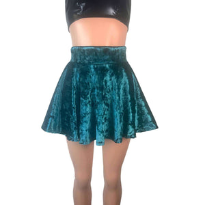 Skater Skirt - Teal Crushed Velvet, skirts